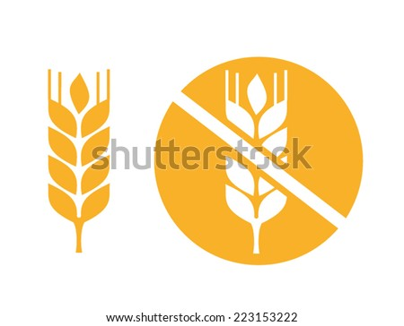 wheat yellow gluten free grain vector icon - stock vector