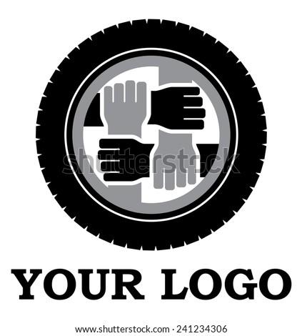Wheel and hands vector logo, mutual help, brotherhood - stock vector
