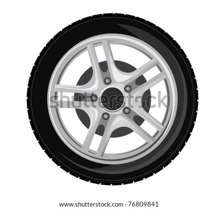Wheel and tire for transport or service design. Jpeg version also available in gallery - stock vector