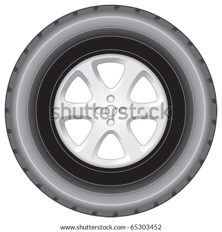 Wheel and tyre vector elevation - stock vector