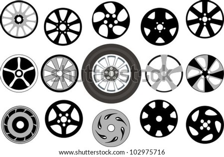 Wheel and wheel disks - stock vector