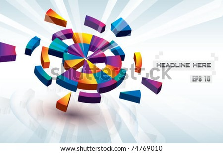 wheel chart digital vector background - stock vector