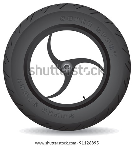 Wheel for a sports bike on a white background - vector.
