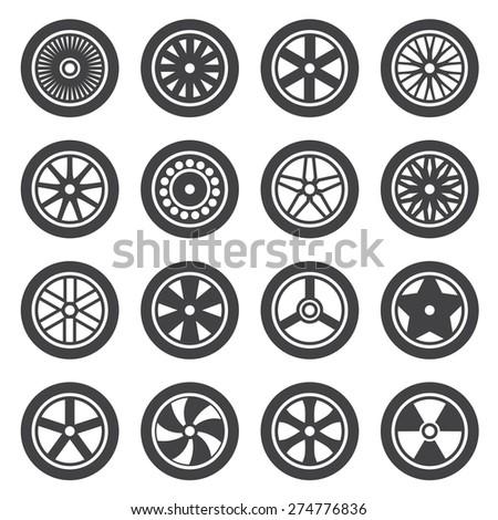wheel  icon Set - stock vector