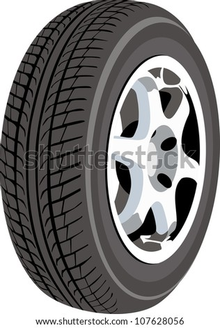 Wheel isolated on white - stock vector