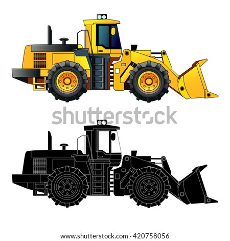 Wheel loader, heavy equipment and machinery. Detailed vector illustration. Isolated on white. Icon. Flat style. Silhouette