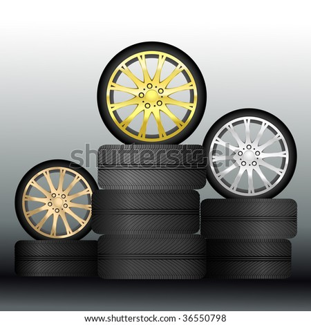 Wheel Medals - Vector (Easy Change Colors, Only Gradient Used) - stock vector