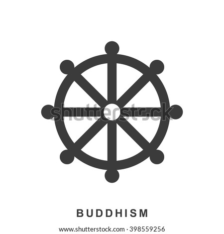 Wheel of Dharma, Dharmachakra - a symbol of Buddhism and Hinduism. Buddhism icon in flat style isolated on white background