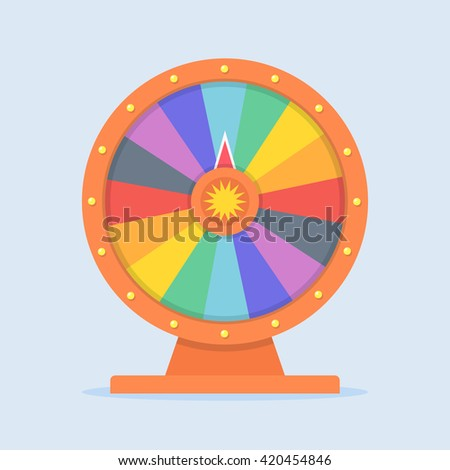 Wheel of Fortune vector illustration in flat style. Empty wheel of fortune. Concept wheel of fortune isolated on colored background. Colorful children playingl wheel of fortune icon.  - stock vector