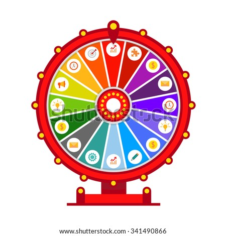 Wheel of fortune vector infographic elements, flat design isolated on
