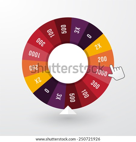 wheel of fortune with the pointer in pastel colors - stock vector