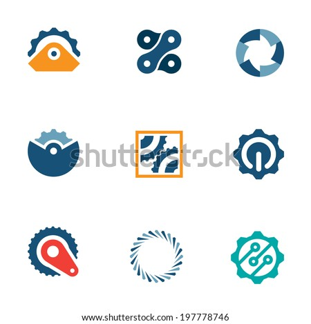 Wheel power steal machine industrial part logo icons set - stock vector