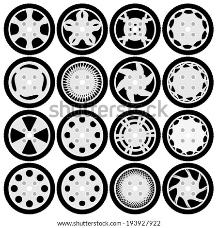 Wheel rim design set - stock vector