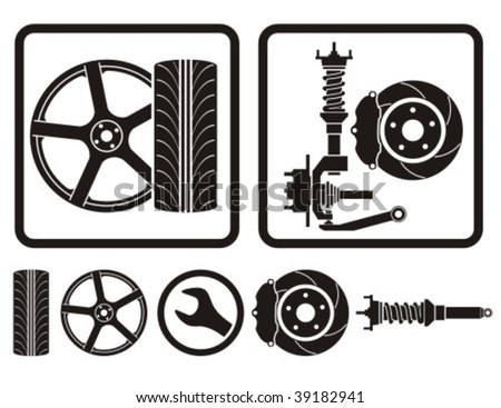 Wheel rim, tire, shock absorber vector icons. - stock vector