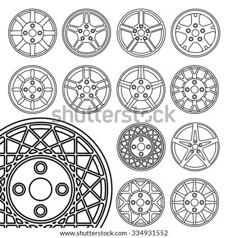 Wheel set. Rim icons thin line - stock vector