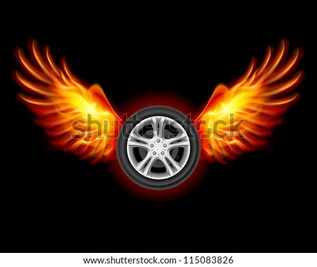 Wheel with fire wings. Illustration on black - stock vector