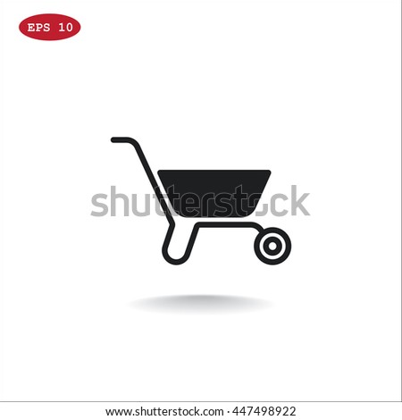 Wheelbarrow Icon Vector.  - stock vector