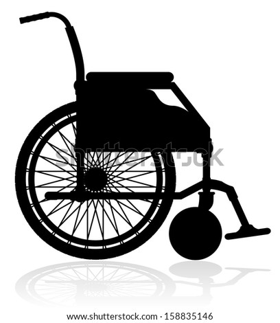 wheelchair black silhouette vector illustration isolated on white background - stock vector