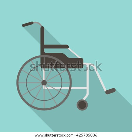 Wheelchair flat design medical icon. Vector illustration with long shadow flat vector illustration isolated on white background