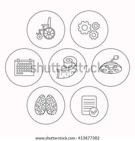 Wheelchair, neurology and weight loss icons. Surgical lamp linear sign. Check file, calendar and cogwheel icons. Vector - stock vector