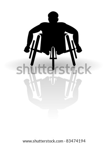 Wheelchair racer vector - stock vector