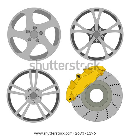 Wheels and brake disc with caliper. Isolated on white background. Design of vector illustrations. - stock vector