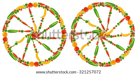 Wheels with fruits, vegetables, berries and mushrooms. Healthy lifestyle. Vector color illustration