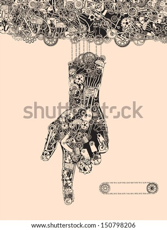 When the puppeteers hand became the marionette. Bound to the Manipulator, even as a Pointing Finger. - stock vector