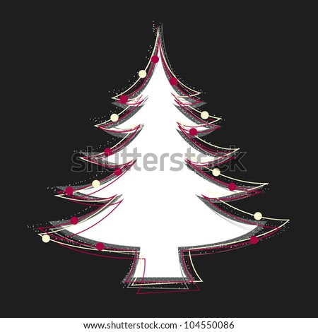 While Christmas tree decorated by colorful balls on black background - stock vector