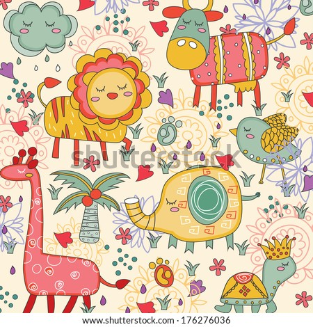 whimsical animals illustration - stock vector