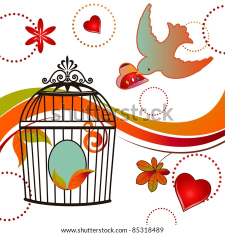 Whimsical bird carrying heart to cage