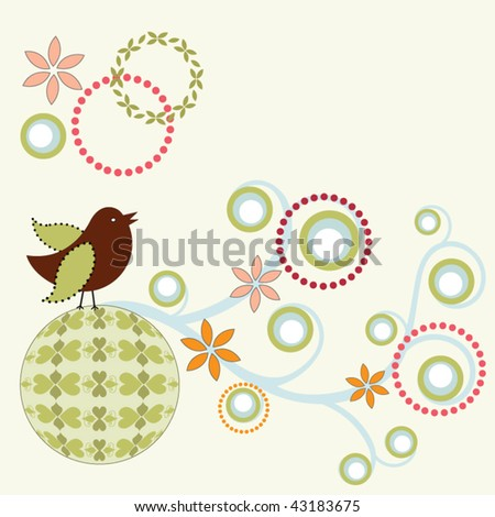 whimsical bird on funky circle and vine - stock vector