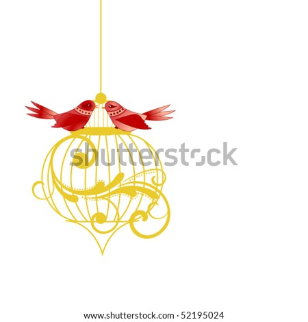Whimsical birds on a cage (coil separate elements) - stock vector