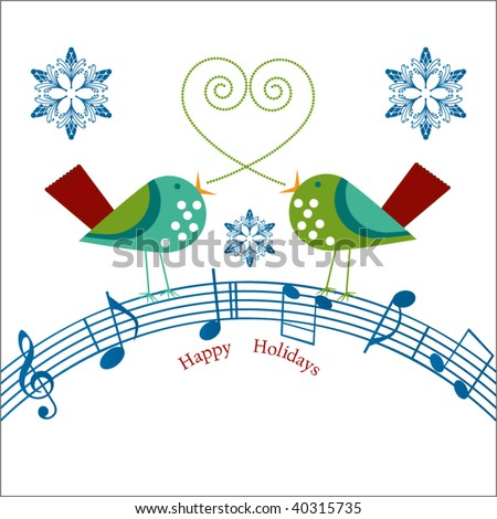 whimsical  birds with musical notes  Happy Holidays message - stock vector