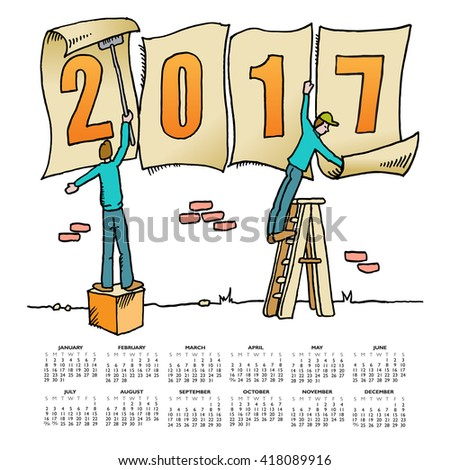 Whimsical drawing 2017 calendar for web or print use - stock vector