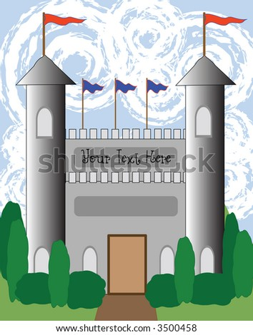 Whimsical drawing of a fairytale castle with banners. - stock vector