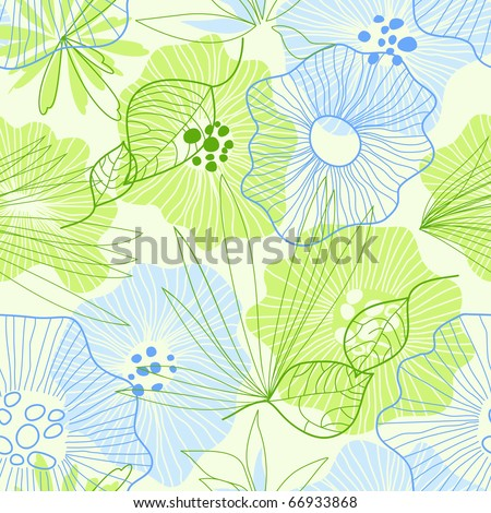 Whimsical floral background - stock vector