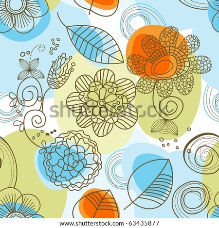 Whimsical floral background (seamless) - stock vector