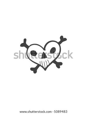 Whimsical Heart Skull