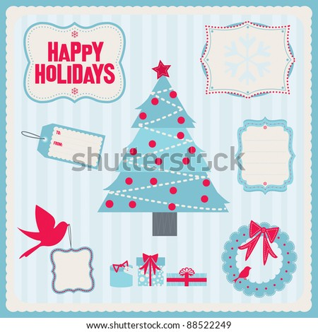 Whimsical holiday design elements. Fully editable vector illustration, can be used individually or together.