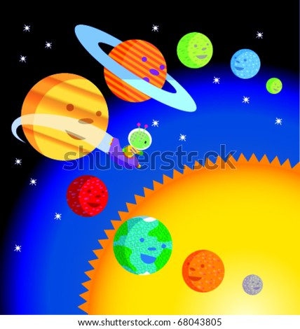 Whimsical illustration of nine planets orbiting the sun-- with alien spaceship - stock vector