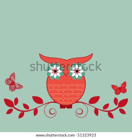 whimsical owl on bough - stock vector