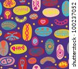 Whimsical seamless pattern with traditional objects funny - stock photo