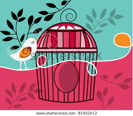 Whimsical singing bird with cage - stock vector