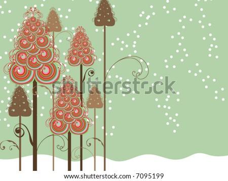 whimsical swirls winter trees (vector) - stock vector