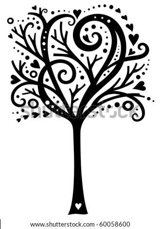 Whimsical tree design with hearts. - stock vector