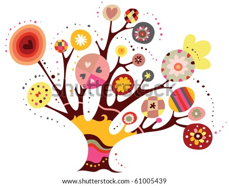 Whimsical tree with geometric shapes and bright colors. - stock vector