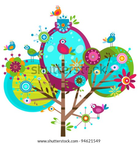 whimsy flower tree and birds - stock vector