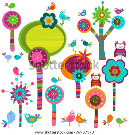 whimsy forest - stock vector