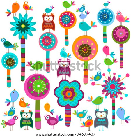 whimsy forest with flower trees and birds - stock vector
